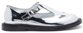 Burberry Hannie Metallic Patent-leather Dolly Loafers - Silver