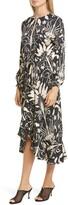 Johanna Ortiz Floral Ruffle Trim Long Sleeve Jacquard Midi Dress