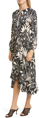 Johanna Ortiz Floral Ruffle Trim Long Sleeve Jacquard Midi Dress