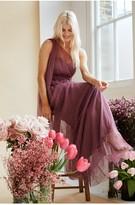 Thumbnail for your product : Little Mistress Bridesmaid Karter Mauve Bow Detail One-Shoulder Maxi Dress