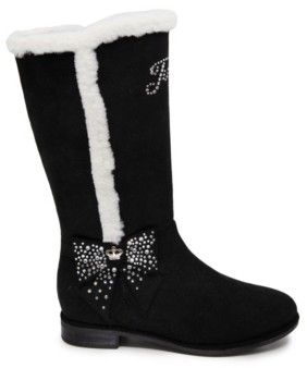 Juicy Couture Big Girls Black Fur Riding Boot