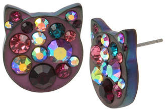 Betsey Johnson Cat Face Stud Earrings