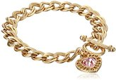 "Swarovski 1928 Jewelry ""Hearts"" 14k Gold-Dipped Toggle Charm Bracelet with Pink Crystals"