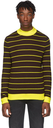 Acne Studios Brown and Yellow Striped High-Neck Slim Sweater