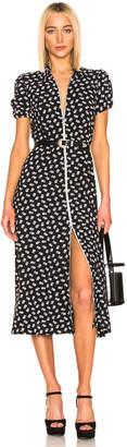 ALEXACHUNG Puff Sleeve Zip Through Dress in Black & Cream | FWRD