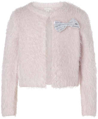 Monsoon Sequin Bow Fluffy Bolero Pink