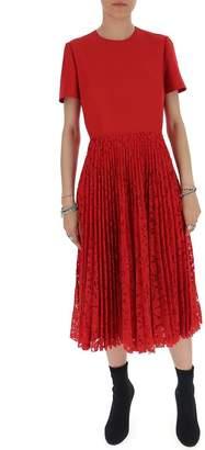 Valentino Pleated Lace Short Sleeve Midi Dress