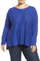 Eileen Fisher Organic Linen & Cotton Bateau Neck Sweater (Plus Size)