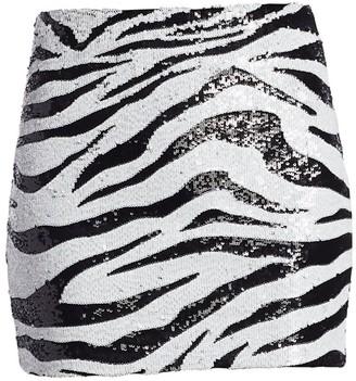 Alice + Olivia Ramos Sequin Zebra Mini Skirt