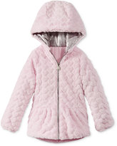 London Fog Faux-Fur Reversible Hearts Coat, Little Girls (2-6X)