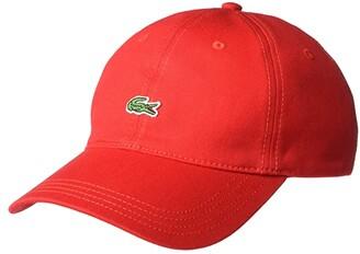 Lacoste Little Croc Twill Leatherstrap Cap (Flamingo Pink) Baseball Caps