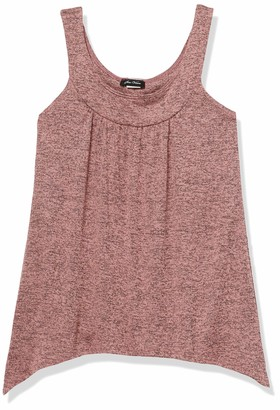 Star Vixen Women's Petite Slvless U-Neck Band Sharkbite Hem Sweater Knit Top