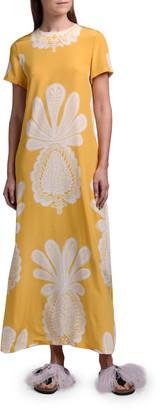 La DoubleJ Printed Long Silk Swing Dress