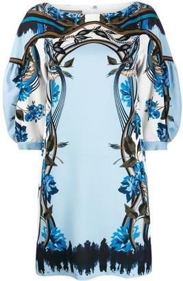 Alberta Ferretti Floral-Print Draped-Sleeve Dress