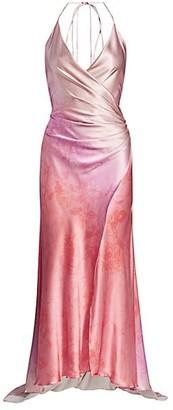 Adriana Iglesias Scarface Wrapped High-Low Stretch-Silk Gown