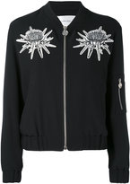 Carven floral detail bomber jacket - women - Silk/Polyester/Acetate - 38