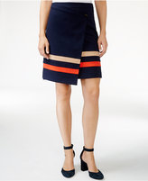 Tommy Hilfiger Striped Faux-Wrap Skirt, Only at Macy's