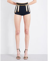 DSQUARED2 Military buckle high-rise stretch-wool shorts