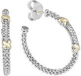 Lagos 18K Gold and Sterling Silver Diamond Hoop Earrings