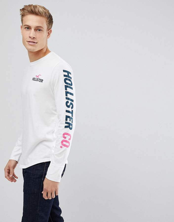 Hollister Sleeve Print Logo Long Sleeve Top In White