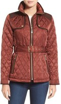 Vince Camuto Women's Diamond Quilted Jacket With Faux Suede Trim