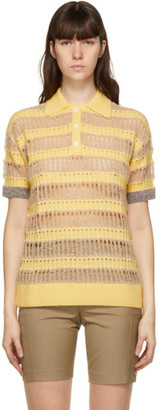 ANDERSSON BELL Yellow and Beige Wool Bubble Knit Moana Polo