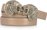Pantera crystal-embellished leather belt