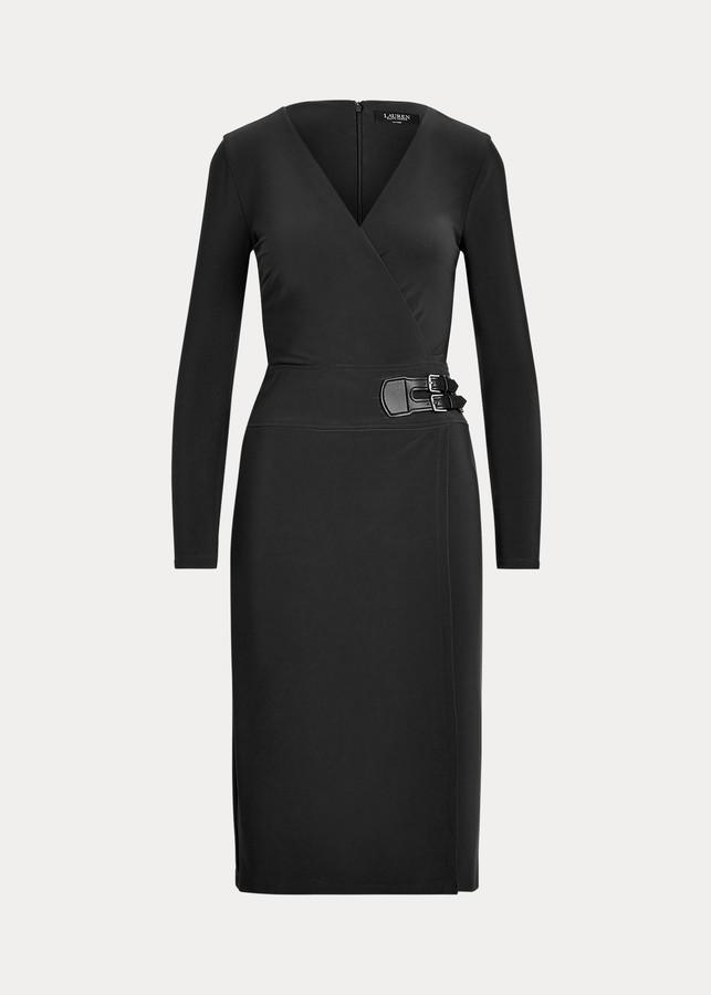 Ralph Lauren PLUS Mercury Dark Grey Stretch Jersey Embellish Draped Neck Dress