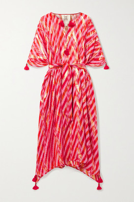 Figue Fabrizi Tasseled Belted Metallic Fil Coupe Silk-blend Kaftan - Red