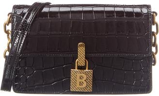 Balenciaga Lock Small Croc-Embossed Leather Shoulder Bag