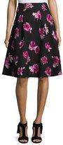 Kate Spade Floral Stretch Crepe A-Line Skirt, Black