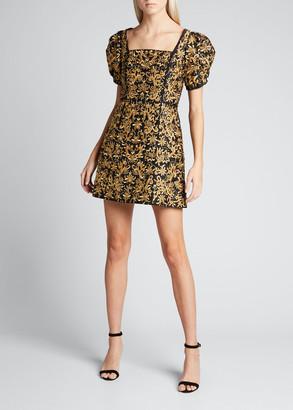 Alice + Olivia Kristina Embroidered Square-Neck Dress