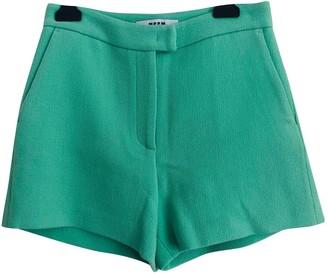 MSGM Green Wool Shorts