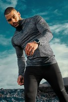 boohoo Mens Grey MAN Active Raglan Skinny Fit Funnel Neck Top, Grey