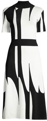 BOSS Faeh Abstract Jacquard Knit Midi Dress