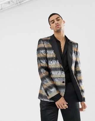 ASOS EDITION skinny suit jacket in grey and gold sequins