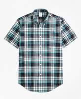 Brooks Brothers Regent Fit Green Madras Short-Sleeve Sport Shirt