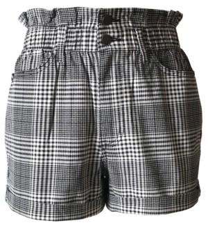 Tinseltown Juniors' Plaid Paperbag-Waist Shorts