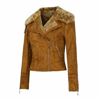 Mumustar 1 Women Suede Leather Jackets Fur Lined Zip Lapel Punk Cropped Winter Coat Motor Biker Jackets Blazers Mumustar Brown M