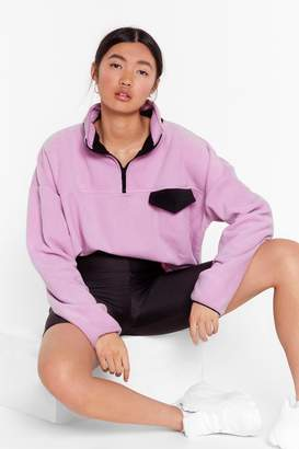 Nasty Gal Womens Pocket Outta the Park Relaxed Contrast Sweatshirt - Purple - S