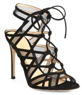 Gianvito Rossi Suede & Mesh Lace-Up Cutout Sandals