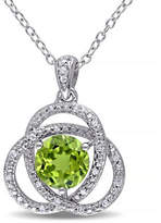 Concerto Peridot and Diamond Sterling Silver Orbit Pendant Necklace