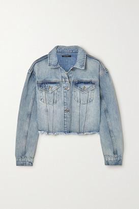 Ksubi Daggerz Cropped Distressed Denim Jacket - Mid denim