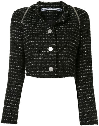Alexander Wang Zipped Detail Tweed Cropped Jacket