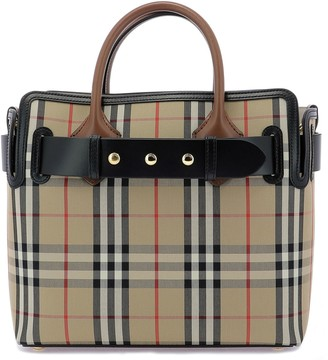 Burberry Vintage Check Triple Stud Belt Small Tote Bag