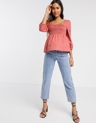 Vila Square neck smock top