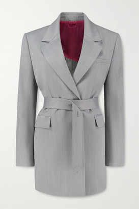 GAUGE81 Merida Belted Wool-blend Blazer - Gray