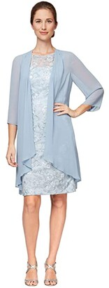 Alex Evenings Short Embroidered Dress with Elongated Illusion Jacket (Light Blue) Women's Dress