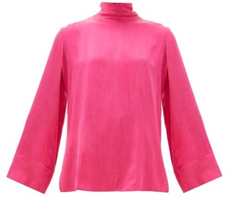 Worme - The High Neck Silk Blouse - Womens - Pink