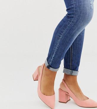 Asos DESIGN Wide Fit Samson slingback mid heels in peach